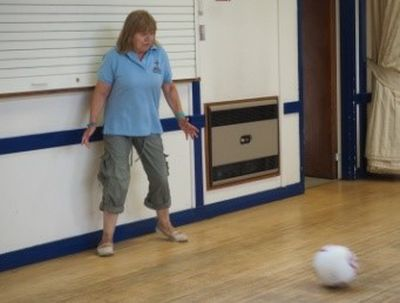 "Sue Smith enjoying a game of football at ""The Foundry""!."