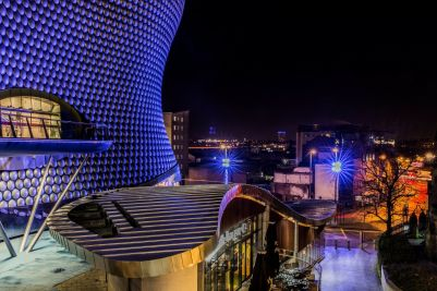 Night-time at the Bullring.