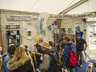 A busy stand at the Crick boatshow.
